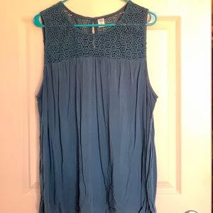 Blue lace top tank; Old Navy; Size XXL